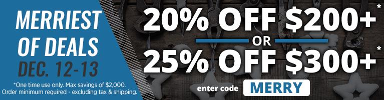 Merriest of deals. December 12-13. 20% OFF $200+ OR 25% OFF $300+. Enter code MERRY
