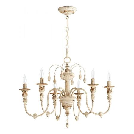 Quorum Five Light Oiled Bronze Amber Scavo Glass Up Chandelier
