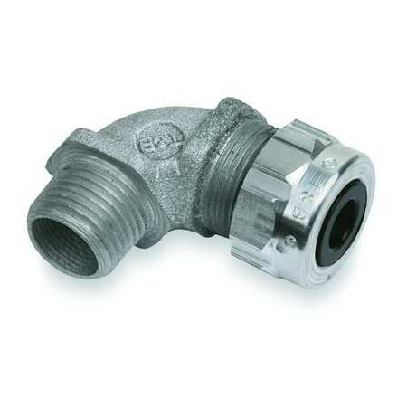 Liquid Tight Connector, 1/2in., 90 deg, Slv