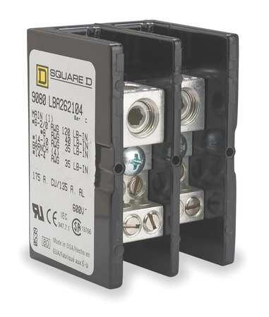Pwr Dist Block, 175A, 2P, 4P Secndry, 600VAC