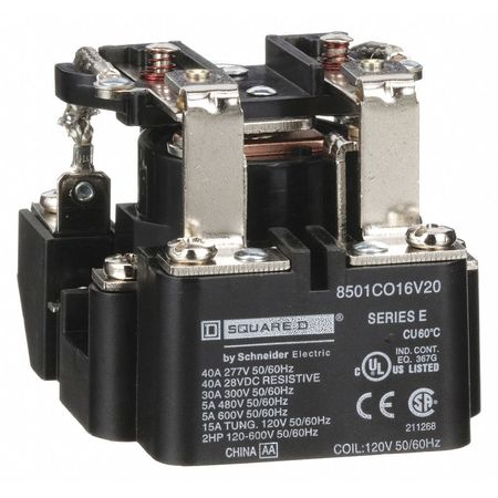 Open Power Relay, 8 Pin, 120VAC, DPDT