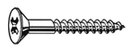 Wood Screw, Flat, #12x1 3/4 L, PK100