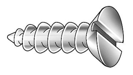 "#10 x 3/4"" Slotted Flat Head Carbon Steel Wood Screws,  100 pk."