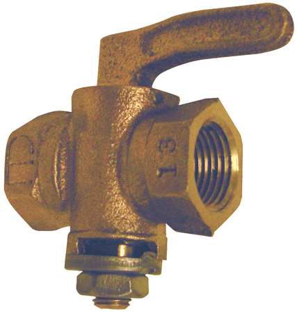 Gas Cock, FNPT, Size 3/8 In., 1-21/32 In. L