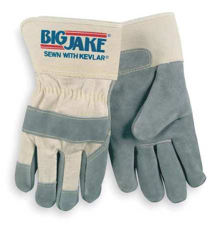 Leather Palm Gloves, L, Gray, PR