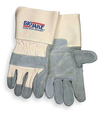 Leather Palm Gloves, XL, Gray, PR