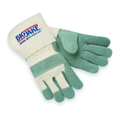Leather Palm Gloves, M, Gray, PR