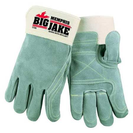 Leather Gloves, Safety Cuff, L, Gray, PR