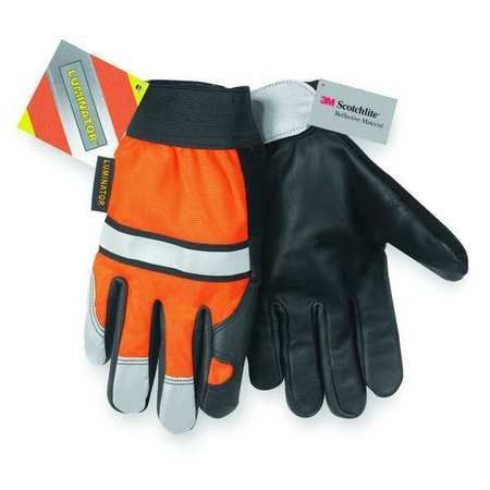 Leather Gloves, L, High Visibility Orange, PR