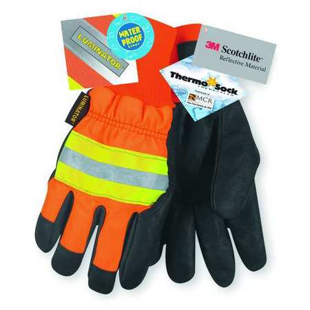 Leather Drivers Gloves, HiVis Orange, L, PR