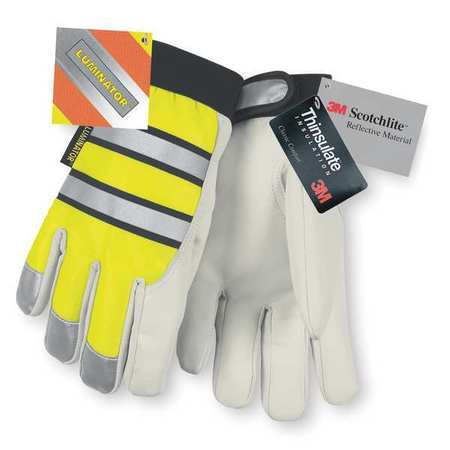 Leather Gloves, L, High Visibility Yellow, PR