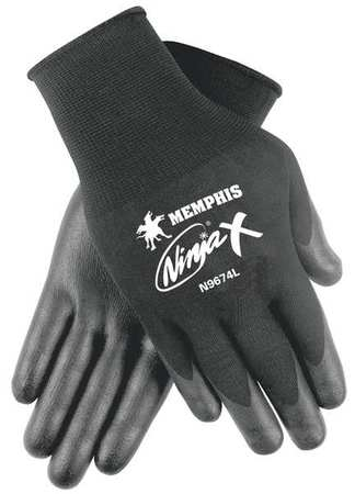 Coated Gloves, XL, Black, Bi Polymer, PR