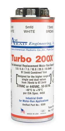 Motor Run Capacitor, 5-97.5 MFD, 370/440V