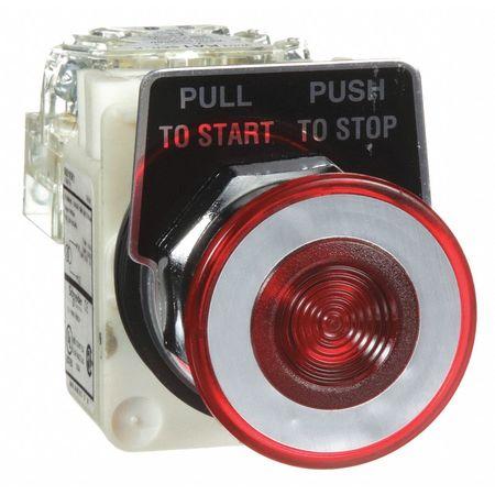 Illuminated Push Button, 30mm, 1NO/1NC, Red