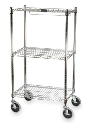 Storage Bin Cart, 2 Shelves, w/4 Casters