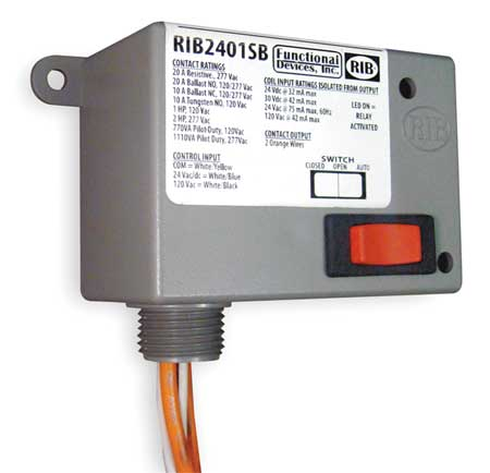 Enclosed Pre-Wired Relay, 20A@277VAC, SPST