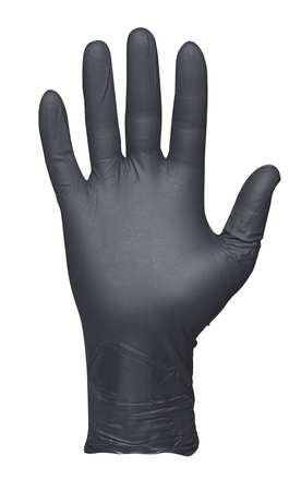 Disposable Gloves, Nitrile, M, Black, PK50