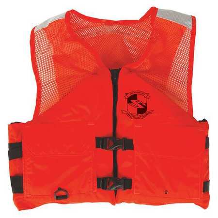 Flotation Vest, Orange, Nylon, XL