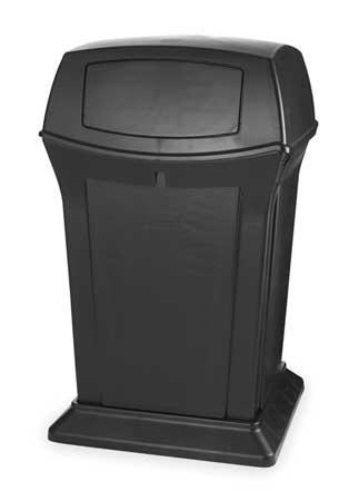 45 gal.  Square  Black  Trash Can w/ Lid