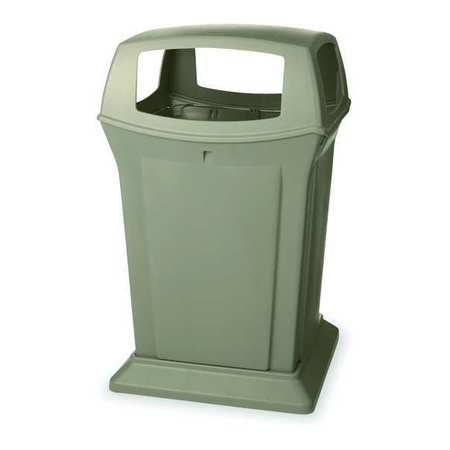 45 gal. Beige Plastic Square Trash Can