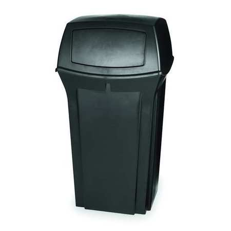35 Gal. Ranger(R) Plastic Square Trash Can,  Dome Swing Top,  Black
