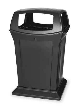45 Gal. Ranger(R) Plastic Square Trash Can,  Canopy Top,  Black