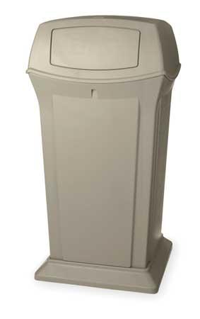 65 gal.  Square  Beige  Trash Can w/ Lid