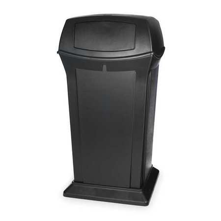65 gal. Black Plastic Square Ranger Trash Can with 2 Doors