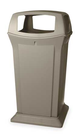 65 gal. Beige Plastic Square Ranger Trash Can with 4 Openings