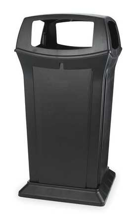 65 gal. Black Plastic Square Trash Can