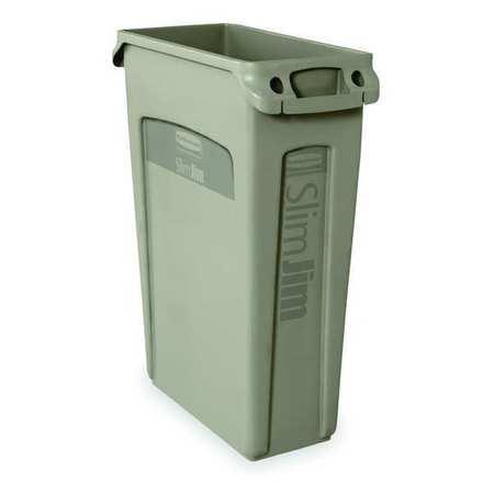 23 gal.  Rectangular  Beige  Trash Can w/ Handles
