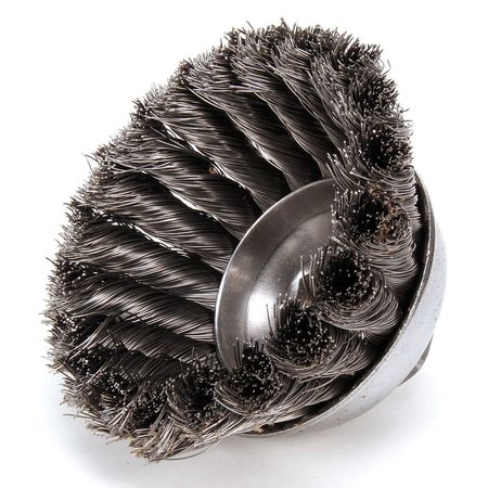 Cup Wire Brush,  Threaded Arbor,  3-1/2""