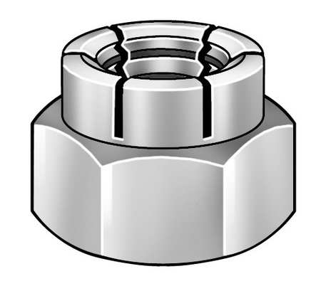 "3/8""-24 Plain Finish 18-8 Stainless Steel Top Lock Nut,  100 pk."