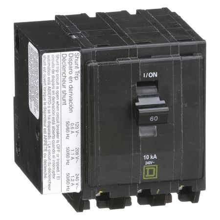 3P Shunt Trip Plug In Circuit Breaker 60A 240VAC