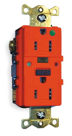 GFCI Receptacle, 15A, 125VAC, 5-15R, Red