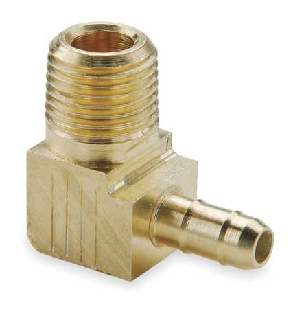 "1/4"" Barb x 1/8"" MNPT Brass Male 90 Degree Elbow"