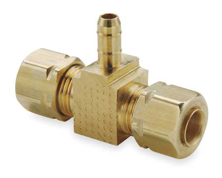 "1/4"" Compression x 0.17"" Barb Brass Tee"