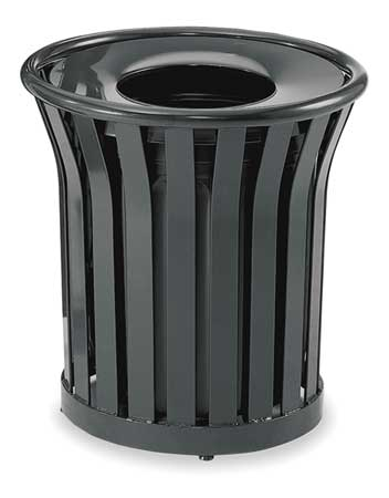 24 gal. Black Steel Round Avenue Trash Can
