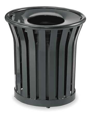24 gal.  Round  Black  Trash Can w/ Disposal Opening
