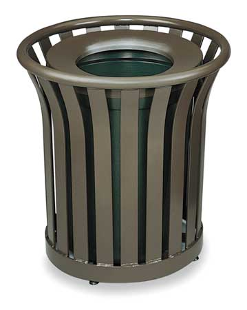 24 gal.  Round  Bronze  Trash Can w/ Disposal Opening