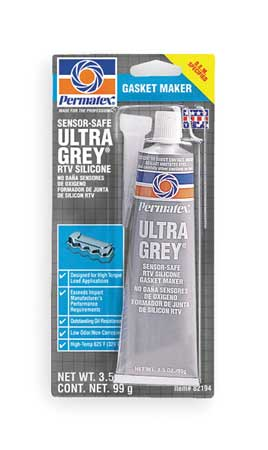 RTV Silicone Sealant, 3.5 oz Tube, Gray