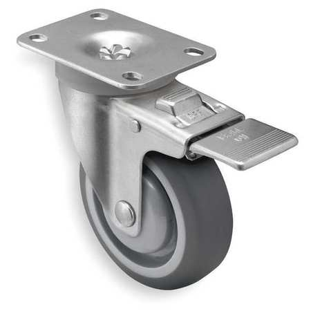 Swivel Plate Caster w/Total-Lock, TPR, 4 in, 260 lb