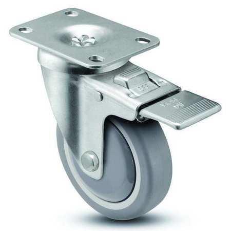 Swivel Plate Caster w/Total-Lock, TPR, 5 in, 280 lb