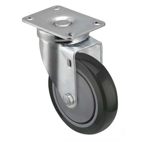 Swivel Plate Caster, 4 in Dia, 300 lb, Gray
