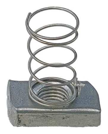 Channel Spring Nut, 3/8 In, Silver, PK25