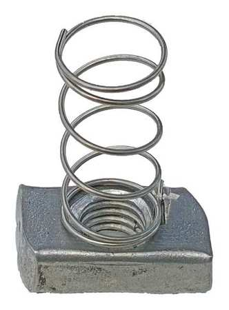 Channel Spring Nut, 1/2 In, Silver, PK25