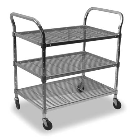 Wire Cart, 3 Shelf, 48x24x39, Chrome