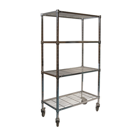 Wire Cart, 4 Shelf, 60x24x70, Zinc