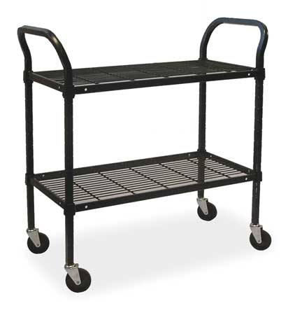 Wire Cart, 2 Shelf, 36x18x39, Black