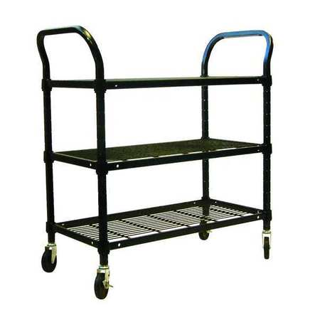 Wire Cart, 3 Shelf, 36x18x39, Black